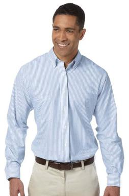 Van Heusen Men's Long Sleeve Wrinkle Resistant Oxford, BLUE
