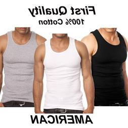 Lot 3-6 Mens 100% Cotton Tank Top A-Shirt Wife Beater Unders