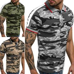 Mens Camo T-Shirt Gym Sport Fit Muscle Tee Casual Short Slee