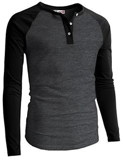 H2H Men Grandad Collar Roll Up Sleeves Heathered Henley Shir