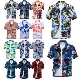Men Hawaiian T Shirt Short Sleeve Summer Holiday Floral Beac