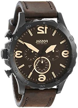 Fossil Men's JR1487 Nate Stainless Steel Watch with Brown Le
