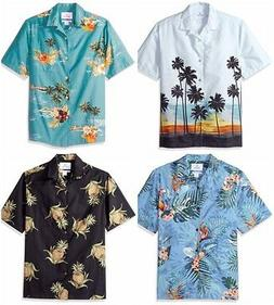 28 Palms Men Relax Fit Cotton Tropical Botton Front Hawaiian