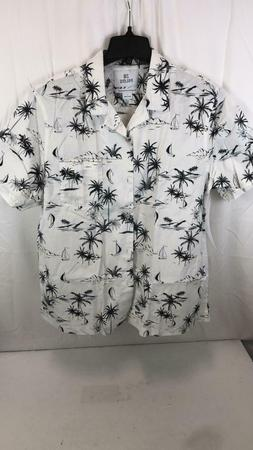 28 Palms Men Relaxed Button Front Shirt Size Large