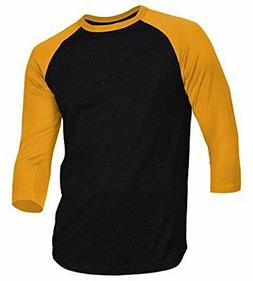 Dream USA Men's Casual 3/4 Sleeve Baseball Tshirt Raglan Jer