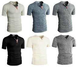 H2H Men's Casual Relaxed Fit Henley Shirts T-shirts with But