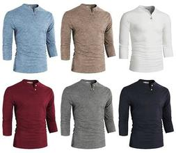 H2H Men's Casual Slim Fit 3/4 Sleeve Henley T-Shirt Tee