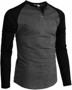 H2H Men's Casual Slim Fit Henley Shirt Long Sleeve Lightweig