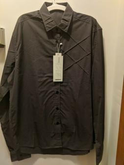 Coofandy Men's Large Gray Long Sleeved Button Up Shirt NWT