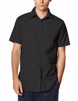 Men's Lee Black Dress Shirt Broadcloth Button Down Short Sle