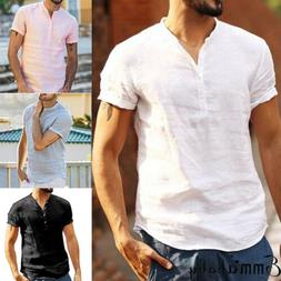 Men's Linen Short Sleeve Shirt Summer Cool Loose Casual V-Ne