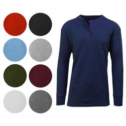 Men's Long Sleeve 3 Button Henley & Classic Waffle Knit Ther