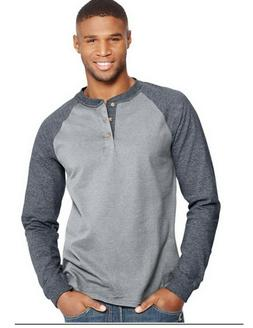 men s long sleeve beefy raglan henley