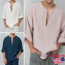 Men's Long Sleeve Linen Shirt Loose Summer Casual V-Neck Shi