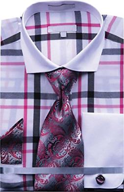 Sunrise Outlet Men's Multi Color Check French Cuff Shirt Tie