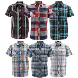 Men's Button Down Plaid Checkered Short Sleeve Regular Fit C