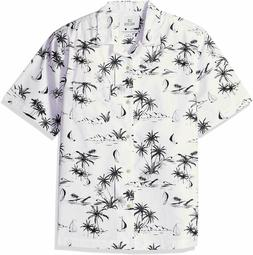 28 Palms Men's Relaxed-Fit 100% Cotton Hawaiian Shirt,White/
