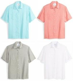 28 Palms Men's Relaxed-Fit Short-Sleeve Linen Botton Front S