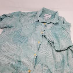 28 Palms Men's Relaxed-Fit Silk/Linen Tropical Leaves Jacqua
