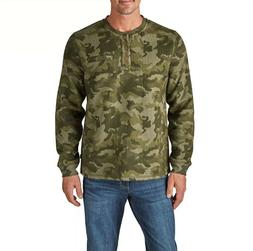 LEE MEN'S SHERPA LINED THERMAL HENLEY ~ ARMY CAMO  SIZE: ---
