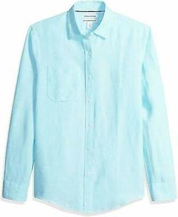 Amazon Essentials Men's Slim-Fit Long-Sleeve Linen Shirt - C