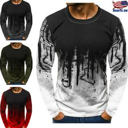 Men's Slim Fit O Neck Long Sleeve Muscle Tee Shirts Casual T