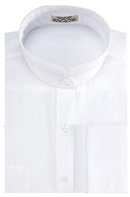 Sunrise Outlet Men's Solid Banded Collar French Cuff Dress S