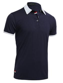 FashionOutfit Men's Solid Casual Soft Short Sleeve Collar CO
