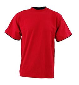 DREAM USA Men's Solid Crewneck Double Layered Short Sleeve S