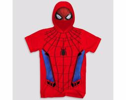 Men's Marvel Spiderman with Mask Graphic Hoodie T-Shirt - Re