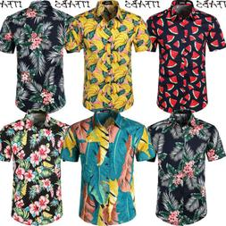 Men's Summer Vintage Casual Dress Shirt Mens Floral Short Sl