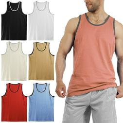 Men's Tank Top Muscle Gym Sleeveless Plain T-Shirts Tee A-Sh