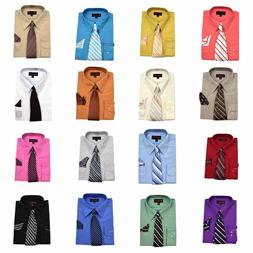 Men's Vibrant Color Dress Shirt with Matching Tie and Handke