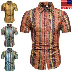 Men Short Sleeve Button Down T-shirt Tops Slim Fit Casual Dr
