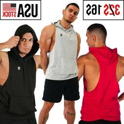 Men Sleeveless Hoodie Training Gym Hooded Tank Top T Shirt W