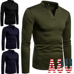 Men Slim Fit Polo Neck Long Sleeve Muscle Tee Shirts Casual