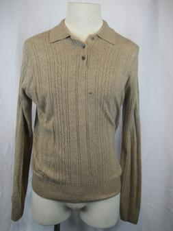 Mens Dockers 100% Acrylic Beige/Tan Cable Knit Golf/Polo Swe