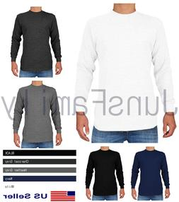 Mens 100%COTTON THERMAL TOP Long Sleeve Waffle Shirts Crew N