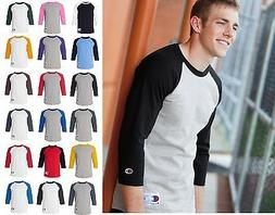 *Champion Mens ¾ sleeve Raglan Baseball Jersey Shirt-18 col