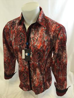 Mens CAVIAR DREMES B REY Designer Shirt Woven Red Abstract B