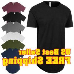 Mens BASIC HIPSTER T Shirts Casual Extended Longline Back Hi