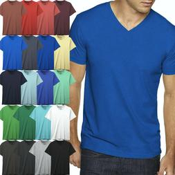 Mens V Neck T shirts Short Sleeve Tee Solid Casual Premium C