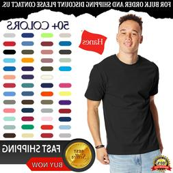 Hanes Mens Beefy-T T-Shirt 100% Cotton 5180 Lowest Price Bla