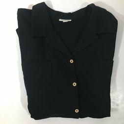 Mens Big and Tall Black Gauze Button Down Casual Shirt size