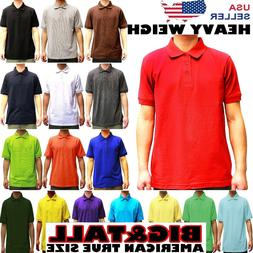 MENS BIG AND TALL PLAIN POLO SOLID COLORS T SHIRT PIQUE COLL