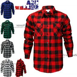 Mens Brawny Buffalo Plaid Flannel Casual Shirt Button Front