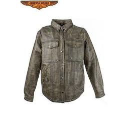 Mens Brown Distressed Leather Shirt With Concealed Carry Poc
