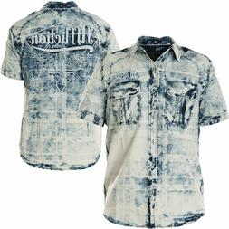 AFFLICTION Mens Button Down Shirt IDLE Embroidered BLUE Amer