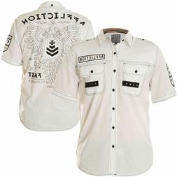 AFFLICTION Mens Button Down Shirt REFORM Embroidered WHITE B