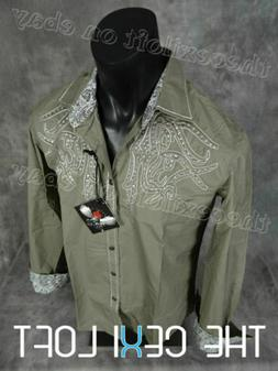 Mens HOUSE OF LORDS Button Shirt Khaki Sand Embroidery with
